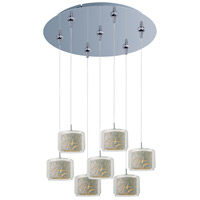 Minx 7 Light 17 inch Polished Chrome Multi-Light Pendant Ceiling Light in Clear/White