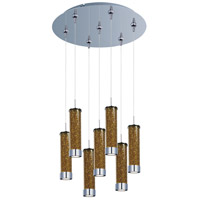 Chroma LED 17 inch Polished Chrome Multi-Light Pendant Ceiling Light in Amber