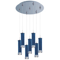 Chroma LED 17 inch Polished Chrome Multi-Light Pendant Ceiling Light in Sky Blue