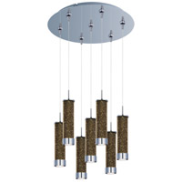 Chroma LED 17 inch Polished Chrome Multi-Light Pendant Ceiling Light in Champagne