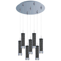Chroma LED 17 inch Polished Chrome Multi-Light Pendant Ceiling Light in Smoke