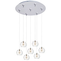 ET2 E93772-24SN Starburst 7 Light 17 inch Satin Nickel Multi-Light Pendant Ceiling Light in Clear