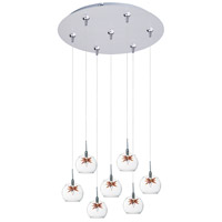 ET2 E93772-25SN Starburst 7 Light 17 inch Satin Nickel Multi-Light Pendant Ceiling Light in Clear/Amber