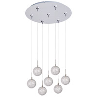 Starburst 7 Light 17 inch Satin Nickel Multi-Light Pendant Ceiling Light in Mesh
