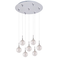 Starburst 7 Light 17 inch Satin Nickel Multi-Light Pendant Ceiling Light in Threaded