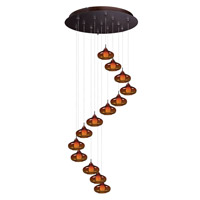 Minx 13 Light 21 inch Bronze Multi-Light Pendant Ceiling Light in Graduating Amber