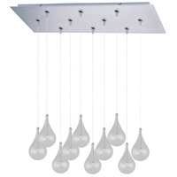 Larmes 10 Light 32 inch Satin Nickel Linear Pendant Ceiling Light