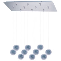 Clipp 10 Light 32 inch Brushed Aluminum Linear Pendant Ceiling Light in Blue