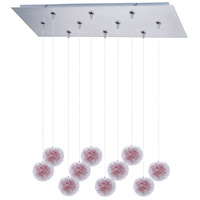 ET2 E93920-93AL Clipp 10 Light 32 inch Brushed Aluminum Linear Pendant Ceiling Light in Clear/Frosted, Red