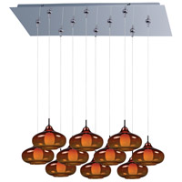 ET2 E93948-141PC Minx 10 Light 32 inch Polished Chrome Linear Pendant Ceiling Light in Graduating Amber photo thumbnail