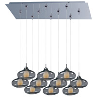 ET2 E93948-142PC Minx 10 Light 32 inch Polished Chrome Linear Pendant Ceiling Light in Graduating Smoke photo thumbnail