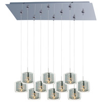 Minx 10 Light 32 inch Polished Chrome Linear Pendant Ceiling Light in Clear/Mirror
