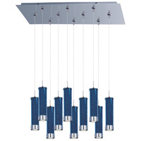 Chroma LED 32 inch Polished Chrome Linear Pendant Ceiling Light in Sky Blue