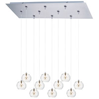 Starburst 10 Light 32 inch Satin Nickel Linear Pendant Ceiling Light in Clear