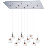Starburst 10 Light 32 inch Satin Nickel Linear Pendant Ceiling Light in Clear/Amber