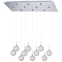 Starburst 10 Light 32 inch Satin Nickel Linear Pendant Ceiling Light in Mesh