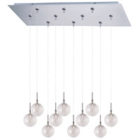 Starburst 10 Light 32 inch Satin Nickel Linear Pendant Ceiling Light in Threaded