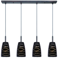 Carte LED 33 inch Bronze Linear Pendant Ceiling Light in Black Amber Swirl