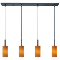Carte LED 33 inch Bronze Linear Pendant Ceiling Light in Amber Ripple