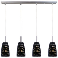 Carte LED 33 inch Satin Nickel Linear Pendant Ceiling Light in Black Amber Swirl
