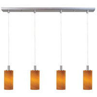 Carte LED 33 inch Satin Nickel Linear Pendant Ceiling Light in Amber Ripple