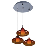 Minx 3 Light 12 inch Polished Chrome Multi-Light Pendant Ceiling Light in Graduating Amber