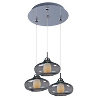 Minx 3 Light 12 inch Polished Chrome Multi-Light Pendant Ceiling Light in Graduating Smoke