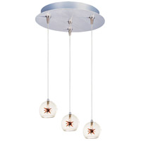 Starburst 3 Light 12 inch Multi-Light Pendant Ceiling Light in Clear/Amber