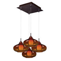 Minx 4 Light 11 inch Bronze Multi-Light Pendant Ceiling Light in Graduating Amber