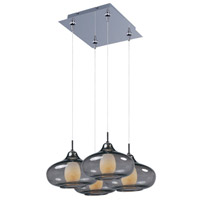 Minx 4 Light 11 inch Polished Chrome Multi-Light Pendant Ceiling Light in Graduating Smoke