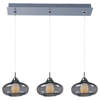 Minx 3 Light 24 inch Polished Chrome Linear Pendant Ceiling Light in Graduating Smoke