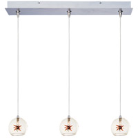 Starburst 3 Light 24 inch Linear Pendant Ceiling Light in Clear/Amber