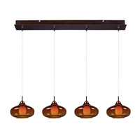 Minx 4 Light 8 inch Bronze Linear Pendant Ceiling Light in Graduating Amber