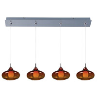 ET2 E94948-141PC Minx 4 Light 35 inch Polished Chrome Linear Pendant Ceiling Light in Graduating Amber photo thumbnail