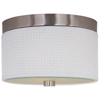 Elements 2 Light 10 inch Satin Nickel Flush Mount Ceiling Light in White Weave