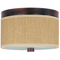 Elements 2 Light 10 inch Oil Rubbed Bronze Flush Mount Ceiling Light in Grass Cloth