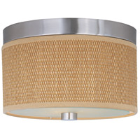 Elements 2 Light 10 inch Satin Nickel Flush Mount Ceiling Light in Grass Cloth