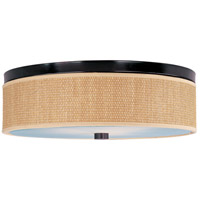 Elements 3 Light 20 inch Oil Rubbed Bronze Flush Mount Ceiling Light in Grass Cloth