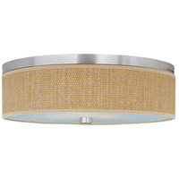 ET2 E95004-101SN Elements 3 Light 20 inch Satin Nickel Flush Mount Ceiling Light in Grass Cloth