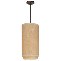 Elements 1 Light 10 inch Oil Rubbed Bronze Mini Pendant Ceiling Light in Grass Cloth
