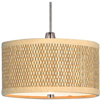 Elements 1 Light 6 inch Satin Nickel Mini Pendant Ceiling Light in Grass Cloth