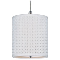 Elements 1 Light 7 inch Satin Nickel Mini Pendant Ceiling Light in White Weave