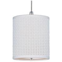 ET2 E95052-100SN Elements 1 Light 7 inch Satin Nickel Mini Pendant Ceiling Light in White Weave