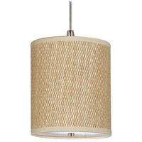 Elements 1 Light 7 inch Satin Nickel Mini Pendant Ceiling Light in Grass Cloth