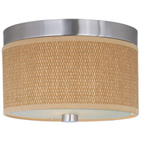 ET2 E95100-101SN Elements 2 Light 10 inch Satin Nickel Flush Mount Ceiling Light in Grass Cloth