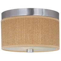 ET2 E95100-101SN Elements 2 Light 10 inch Satin Nickel Flush Mount Ceiling Light in Grass Cloth