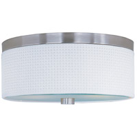 ET2 E95102-100SN Elements 3 Light 14 inch Satin Nickel Flush Mount Ceiling Light in White Weave
