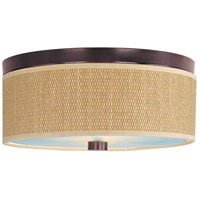 Elements 3 Light 14 inch Oil Rubbed Bronze Flush Mount Ceiling Light in Grass Cloth