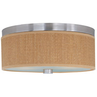 Elements 3 Light 14 inch Satin Nickel Flush Mount Ceiling Light in Grass Cloth