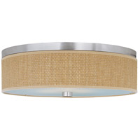ET2 E95104-101SN Elements 3 Light 20 inch Satin Nickel Flush Mount Ceiling Light in Grass Cloth